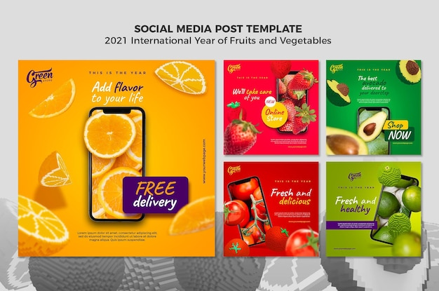 Plantilla de publicaciones de instagram de año de frutas y verduras PSD gratuito