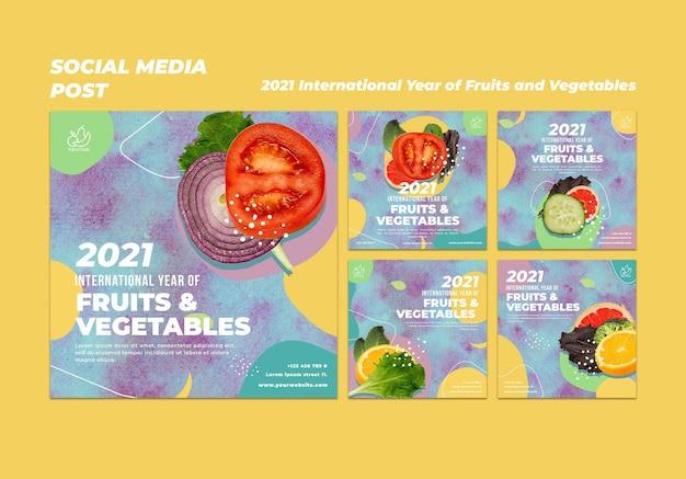 Plantilla de publicaciones de instagram del año internacional de las frutas y verduras