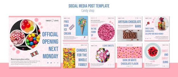 Plantilla de publicaciones de instagram de candy shop