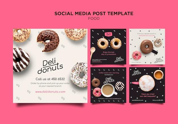 Plantilla de publicaciones de instagram de deliciosas donas