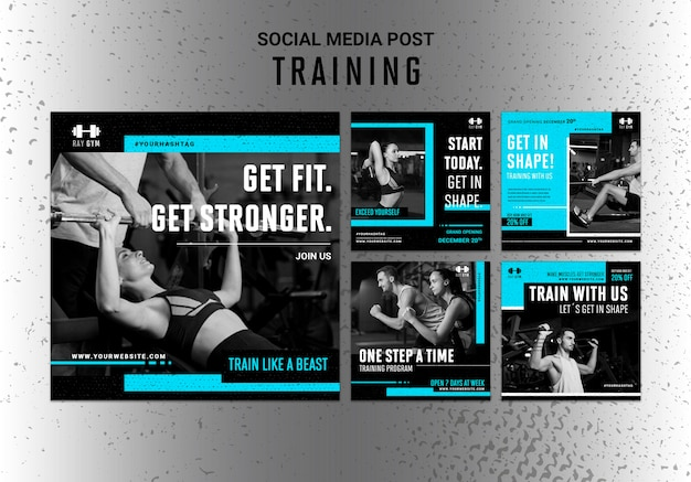 Plantilla de publicaciones de instagram de entrenamiento con foto