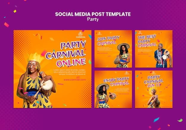 Plantilla de publicaciones de instagram de fiesta de carnaval