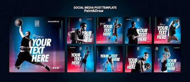Plantilla de publicaciones de instagram de jugador de baloncesto