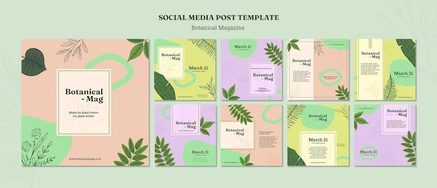Plantilla de publicaciones de instagram de revista botánica
