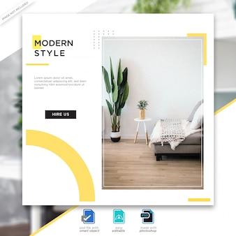 Plantilla de publicaciones de medios sociales de diseño de interiores premium psd