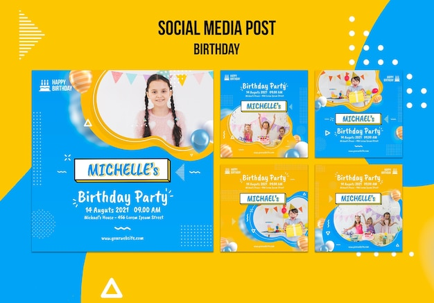 Plantilla de publicaciones de redes sociales de cumpleaños con foto