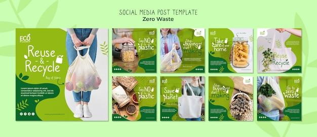 Plantilla de publicaciones de redes sociales sin desperdicio