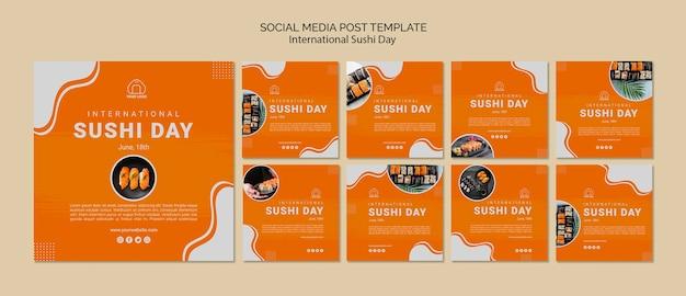 Plantilla de publicaciones en redes sociales del día internacional del sushi