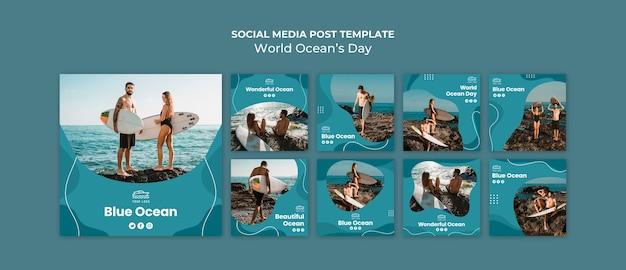 Plantilla de publicaciones en redes sociales del día mundial del océano