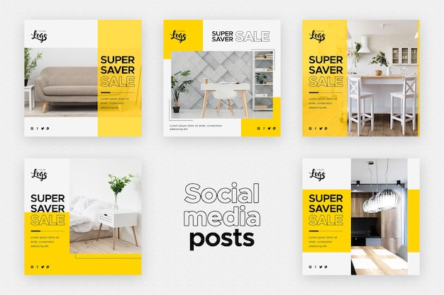Plantilla de publicaciones en redes sociales con negocios de decoración del hogar
