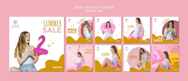 Plantilla de publicaciones de redes sociales de rebajas de verano