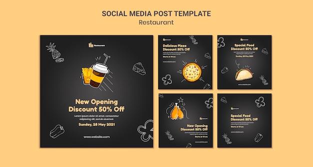 Plantilla de publicaciones en redes sociales de restaurantes de comida