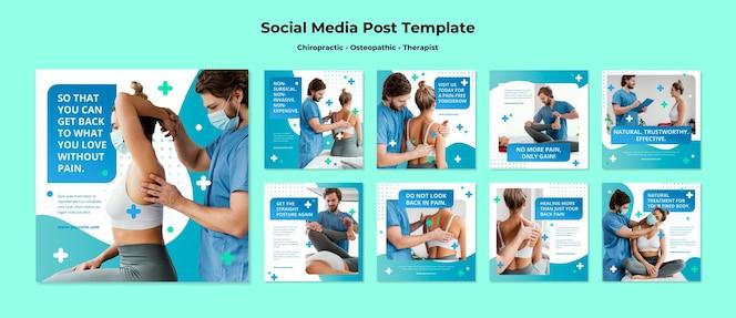 Plantilla de publicaciones de redes sociales sobre osteopatía