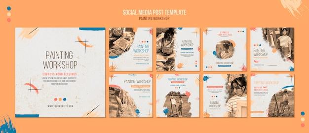 Plantilla de publicaciones de redes sociales de taller de pintura
