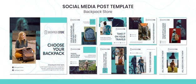 Plantilla de publicaciones en redes sociales de la tienda de mochilas