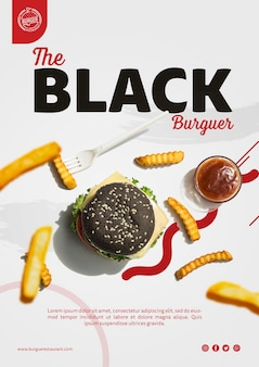 Plantilla de publicidad de hamburguesa con papas fritas
