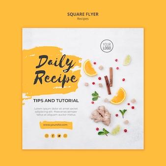 Plantilla de recetas saludables de flyer cuadrado