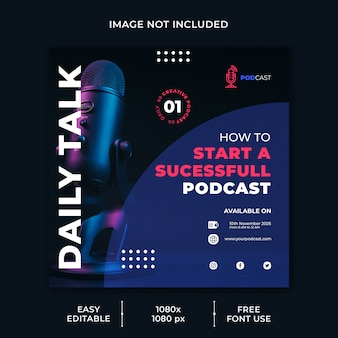 Plantilla de redes sociales de canal empresarial de podcast