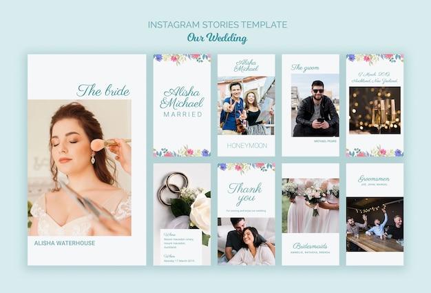 Plantilla de redes sociales colorido concepto de boda