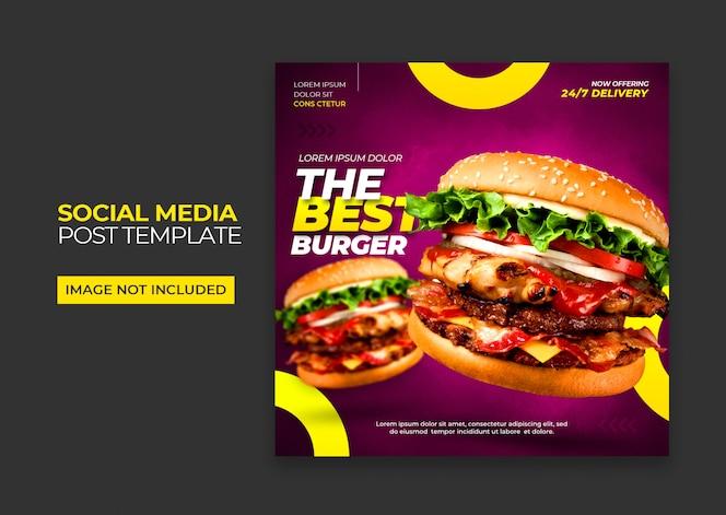 Plantilla de redes sociales hamburguesa de comida rápida premium psd
