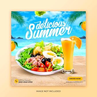 Plantilla de redes sociales de promoción de menú de comida de verano saludable