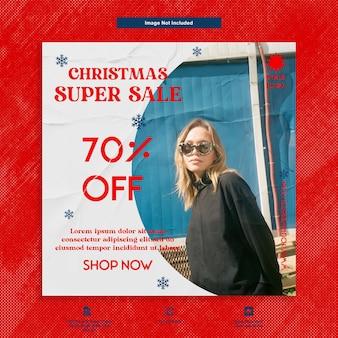 Plantilla de redes sociales de publicación de instagram de moda de mujer de super venta navideña