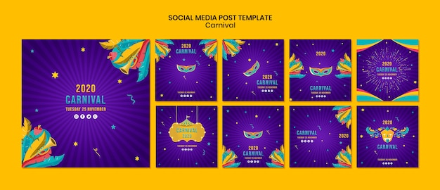 Plantilla de redes sociales con tema de carnaval