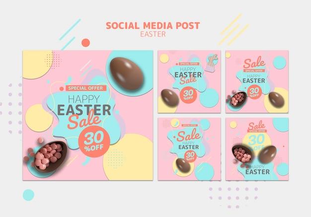 Plantilla de redes sociales con venta del día de pascua