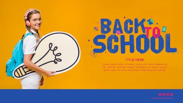 Plantilla de regreso a la escuela con niña adolescente sonriente