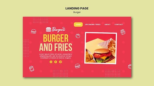 Plantilla de restaurante de hamburguesas de página de destino