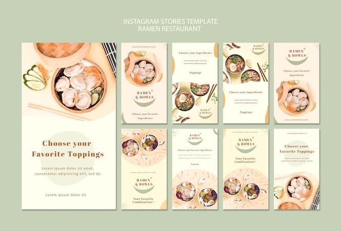 Plantilla de restaurante de ramen historias de instagram