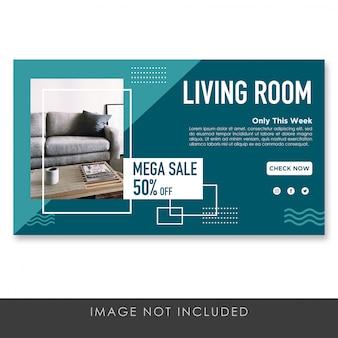 Plantilla de sala de estar de banner
