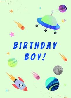 Plantilla de saludo de cumpleaños de galaxia psd para niño