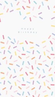 Plantilla de saludo de cumpleaños en línea psd con fondo de espolvorear confeti