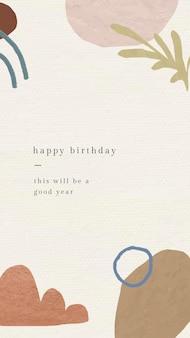 Plantilla de saludo de cumpleaños en línea psd con patrón botánico de memphis