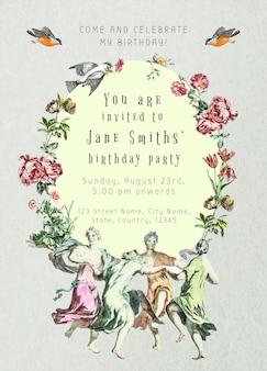 Plantilla de saludo de cumpleaños vintage psd con flores dibujadas a mano, remezclado de la colección de dominio público