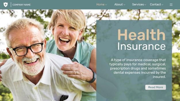 Plantilla de seguro médico psd con texto editable