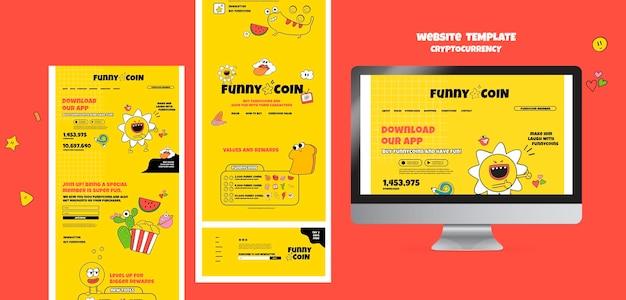 Plantilla de sitio web de criptomoneda de moneda divertida