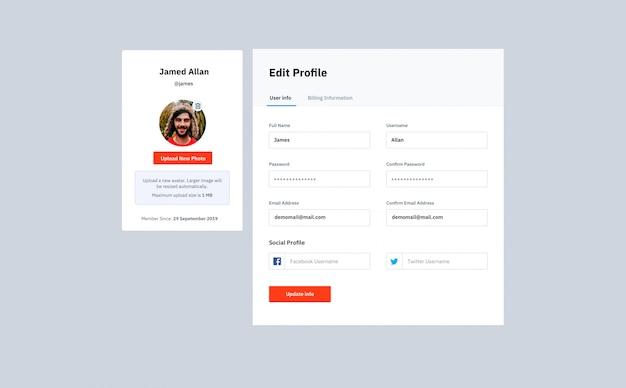 Plantilla de sitio web de formulario de edición y inicio de sesión de perfil
