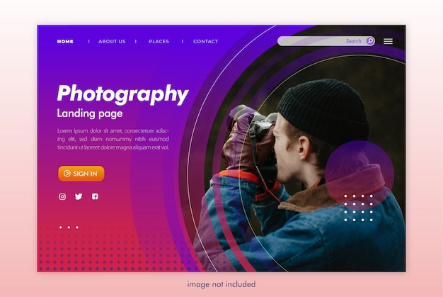 Plantilla de sitio web de página de destino de fotografía