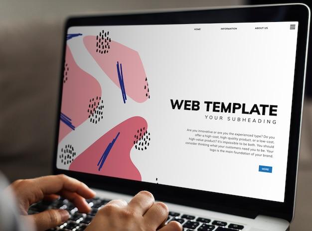 Plantilla de sitio web en la pantalla del portátil