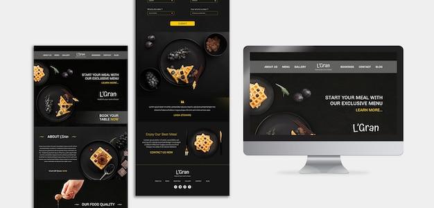 Plantilla de sitio web de restaurante de comida cambiante