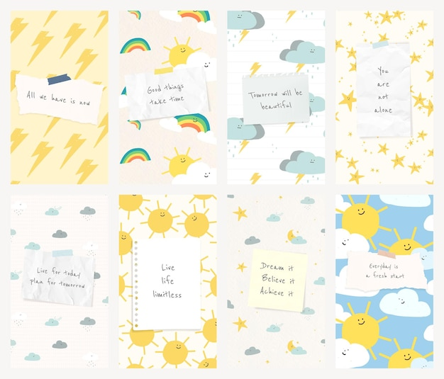 Plantilla social de cita motivacional psd con lindo conjunto de banner de doodle de clima