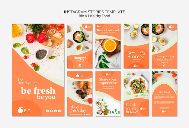 Plantilla de stries de instagram de concepto de comida sana y bio
