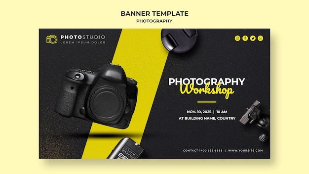 Plantilla de taller de fotografía de banner