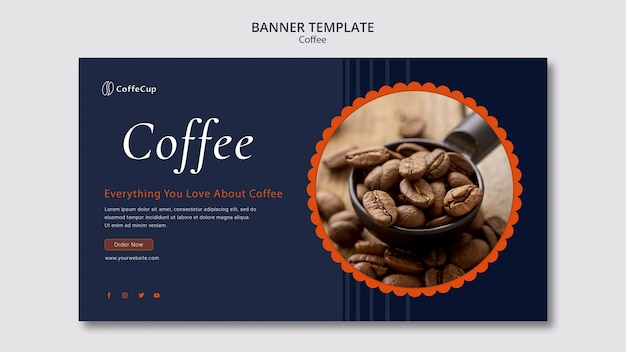 Plantilla de tarjeta de banner con concepto de café