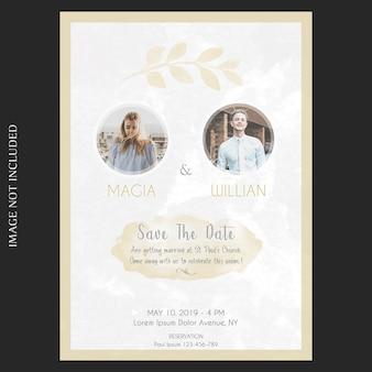 Plantilla de tarjeta de boda e invitación floral acuarela