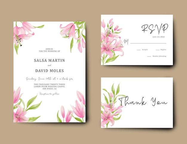 Plantilla de tarjeta de boda con flor de lirio rosa pintada a mano