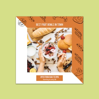 Plantilla de tarjeta para concepto de branding de restaurante