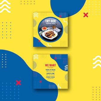 Plantilla de tarjeta cuadrada para restaurante en estilo memphis